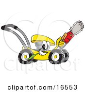 Yellow Lawn Mower Mascot Cartoon Character Passing By And Carrying A Saw