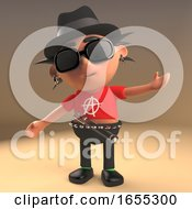 Debonair Punk Rock Cartoon Character Wearing A Trilby Pork Pie Hat
