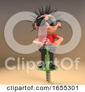 Funny Punk Rock Cartoon Character Doing The Pogo On His Pogo Stick