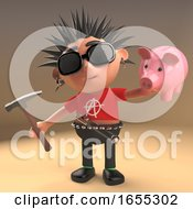 Poor Punk Rock Cartoon Character About To Smash Piggy Bank With Hammer