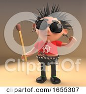 Crazy Punk Rocker Cartoon Character Holding An Unlit Match