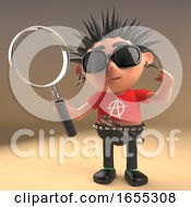 Vicious Punk Rocker Kid Holding A Magnifying Glass