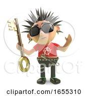 Spiky Punk Rock Cartoon Character Holding A Gold Key Render
