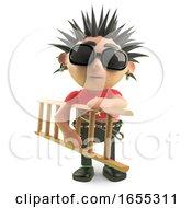 Spiky Punk Rocker Carrying A Ladder