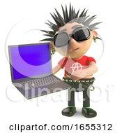 Cartoon Vicious Spiky Punk Rocker Testing A New Laptop Computer