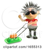 Cartoon Spiky Punk Rocker Moving The Lawn With A Lawnmower