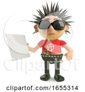 Funny Spiky Punk Rocker Holding An Envelope