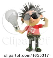 Poster, Art Print Of Vicious Spiky Punk Rock Character Holding A Lightbulb