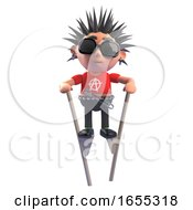 Obstinate Punk Rocker With Spiky Hair Using Stilts To Get About