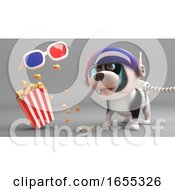 Poster, Art Print Of Cute Puppy Dog In Spacesuit Looks At Floating 3d Glasses And Popcorn
