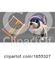 Cool Puppy Dog In Spacesuit Looking At An Abacus Floating In Zero Gravity