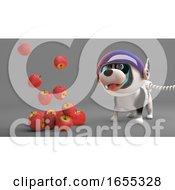 Poster, Art Print Of Apples Float Down From Space To The Amazement Of Space Dog