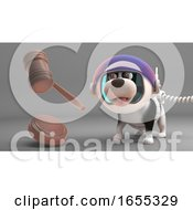 Poster, Art Print Of Amazed Puppy Dog In Spacesuit Looks At Floating Auction Gavel
