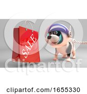 Poster, Art Print Of Interested Puppy Dog In Spacesuit Looks At Sale Shopping Bag