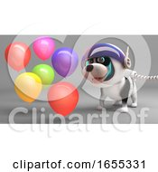 Poster, Art Print Of Puppy Dog In Spacesuit Celebrates With Party Balloons