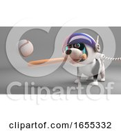 Poster, Art Print Of Sport Loving Puppy Dog In Spacesuit Play Baseball In Space