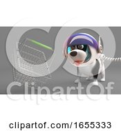 Cute Puppy Dog In Spacesuit Looks At A Floating Shopping Basket