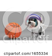 Poster, Art Print Of Sport Loving Puppy Dog In Spacesuit Plays With A Basketball
