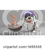 Poster, Art Print Of Hungry Puppy Dog In Spacesuit Cooks Sausages On His Barbecue Bbq