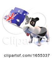 Poster, Art Print Of Cool Puppy Dog Holds The Australian Flag