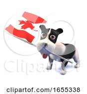 Poster, Art Print Of Cool Puppy Dog Holds The Canadian Flag
