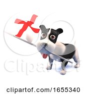 Poster, Art Print Of Cool Puppy Dog Holds The English Flag
