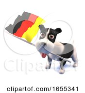 Poster, Art Print Of Cool Puppy Dog Holds The German Flag