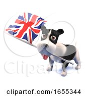 Poster, Art Print Of Cool Puppy Dog Holds The British Flag