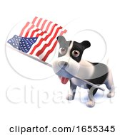 Poster, Art Print Of Cool Puppy Dog Holds The American Flag
