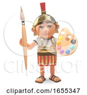 Cartoon Roman Centurion Soldier With Paintbrush And Palette by Steve Young