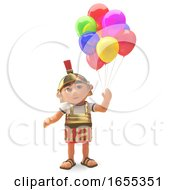 Happy Roman Centurion Soldier Celebrates With Party Balloons 3d Illustration by Steve Young
