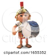 Musical Roman Centurion Soldier Marches With A Bass Drum 3d Illustration by Steve Young