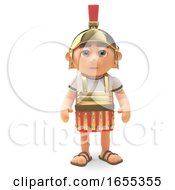 Disciplined Roman Centurion Soldier Stands To Attention