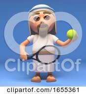 Cartoon Jesus Christ The Saviour Is About To Serve In Tennis