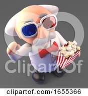 Funny Mad Scientist Professor At The Movies Wearing 3d Glasses And Eating Popcorn