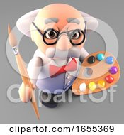 Poster, Art Print Of Art Minded Mad Scientist Professor With Paintbrush And Palette