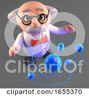 Inquisitive Mad Scientist Professor Studies The Atom