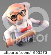 Sports Minded Mad Scientist Professor Holding Baseball Bat And Ball