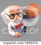 Funny Mad Scientist Professor Playing Basketball