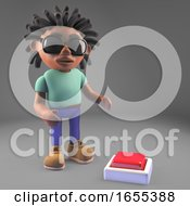 Cartoon Black Man With Dreadlocks Ready To Press A Button