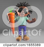 Healthy Black Man With Dreadlocks Holding A Giant Carrot
