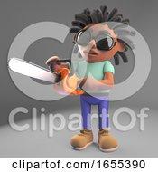 Lumberjack Black Man With Dreadlocks Holding A Chainsaw