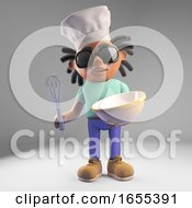 Chef Black Man With Dreadlocks Making A Cake With Bowl And Whisk