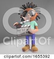 Film Director Black Man With Dreadlocks Holding A Film Slate