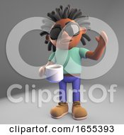 Thirsty Black Man With Dreadlocks Drinking Coffee From A Cup