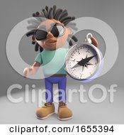 Nvigationally Minded Black Man With Dreadlocks Holding A Compass