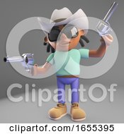 Cowboy Black Man In Stetson Hat Fires His Pistols In The Air