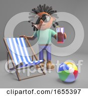 Black Man With Dreadlocks On Holiday With Deckchair And Drink