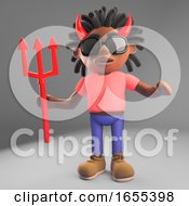 Naughty Black Man With Dreadlocks Wearing Devil Horns Holding A Trident