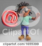 Internet Minded Black Man With Dreadlocks Holding An Email Symbol